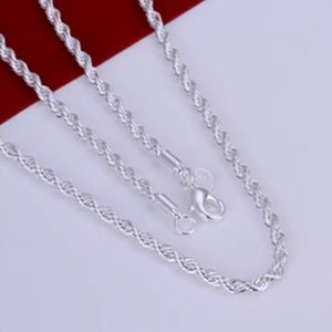 Jewelry - Solid Silver Twisted Rope Chain Necklace